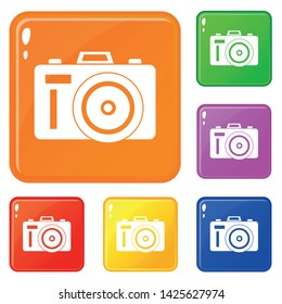 Photocamera icons set collection vector 6 color isolated on white background