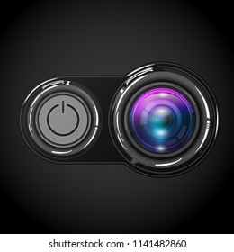 Photocamera lens with on power button