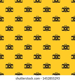 Photocamera pattern seamless vector repeat geometric yellow for any design