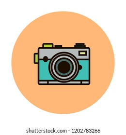 Photocamera vector line icon isolated on white background. Photocamera line icon for infographic, website or app. Scalable icon