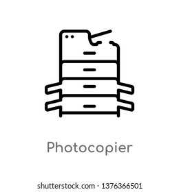 photocopier vector line icon. Simple element illustration. photocopier outline icon from technology concept. Can be used for web and mobile