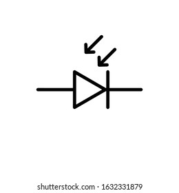 Photodiode Component Symbol For Circuit Design Solid Black Version