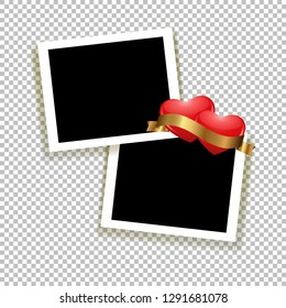 Photoframe with hearts. Realistic empty photo frame with transparent shadow. Background to family album. Vector illustration