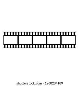 Photografic camera film vector black icon. Cinema filmstrip vector icon.