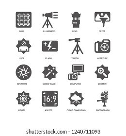 Photograph, Aperture, Tripod, Lights, Zoom in, Grid, User, Cloud computing, Aspect, Lens icon 16 set EPS 10 vector format. Icons optimized for both large and small resolutions.