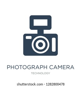 photograph camera icon vector on white background, photograph camera trendy filled icons from Technology collection, photograph camera vector illustration