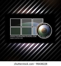 photographer abstract business card template with camera lens