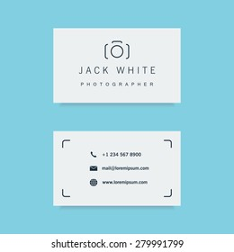 photographer business card template. clean and minimalistic flat style. vector illustration