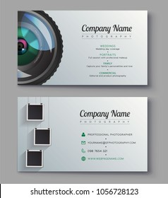 Photographer business card template. Design for photography studio. Ready presentation vector template. Illustrator photo project design.