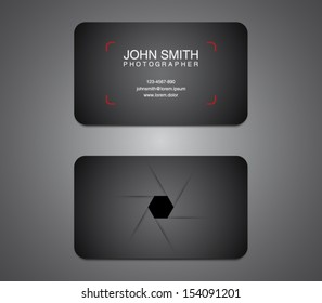 Photographer business card template, photography, photo, presentation. Logo, logotype, brand, branding, identity, company, stationery. Clean and modern style