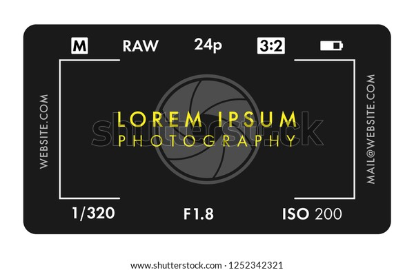 Photographer Business Card with Viewfinder Screen and Aperture