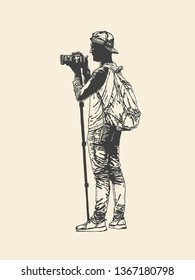 Photographer with a camera on a monopod. Drawing Style. Vector illustration.