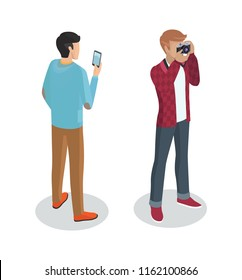 Photographer cameraman set of people 3d isometric icons of men. Person with mobile phone taking pictures and professional with digital camera vector