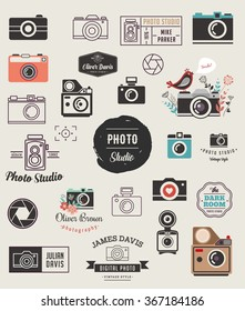 Photographer, cameras, photo studio elements, icons set