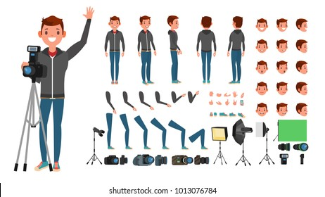 Photographer Character Man Vector. Taking Pictures. Animated Character Set. Full Length.  Photo Camera. Accessories, Poses, Face Emotions, Gestures. Isolated Flat Cartoon Illustration