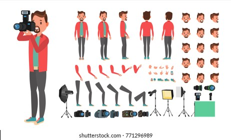 Photographer Character Vector. Taking Pictures With Camera. Animated Man Character Creation Set. Full Length, Front, Side, Back View, Accessories, Poses, Face Emotions, Gestures. Flat Illustration