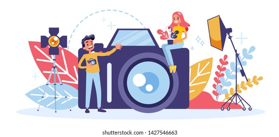 Photographer concept. Professional photographer with camera. Artistic occupation and photography courses. Vector illustration in cartoon style