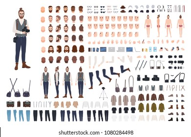 Photographer constructor set or DIY kit. Collection of male cartoon character body parts, facial expressions, clothes, digital and film photo cameras isolated on white background. Vector illustration
