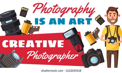 Photographer creative profession and photography. Vector photojournalist with digital camera and professional photo equipment. Lens and flash, photo film roll and memory card vector