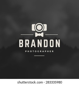 Photographer Design Element in Vintage Style for Logotype, Label, Badge, T-shirts and other design. Photo camera Retro vector illustration.
