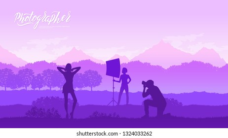 A photographer with equipment makes a photo session with models in nature concept. Take pictures or shoot video in the wild life design