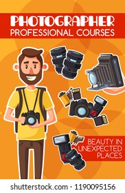 Photographer, freelancer, photojournalist, professional courses and equipment. Man with digital camera and photo items, lens and flash, photo film roll and memory card. Cartoon vector