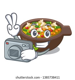 Photographer fried minestrone in the cup character