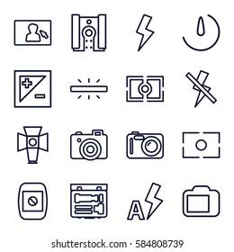 photographer icons set. Set of 16 photographer outline icons such as camera, soft box, camera display, light exposure, flash, no flash