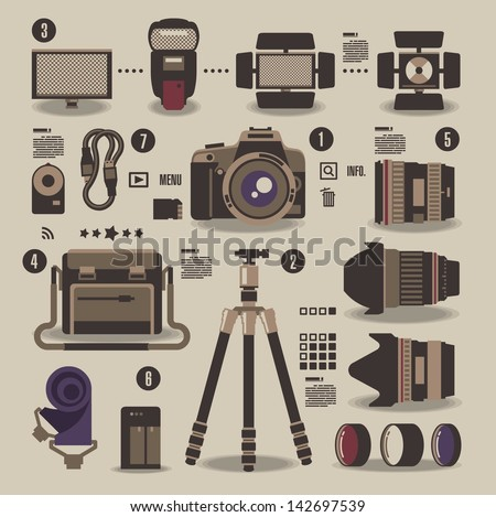 photographer kit,camera elements,vector background