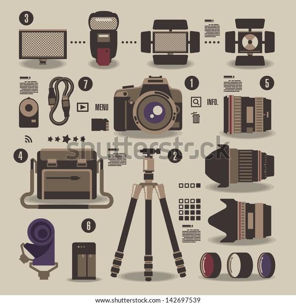 photographer kit,camera elements,vector background