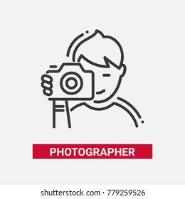 photographer vector images stock photos vectors shutterstock https www shutterstock com image vector photographer line design single isolated icon 779259526