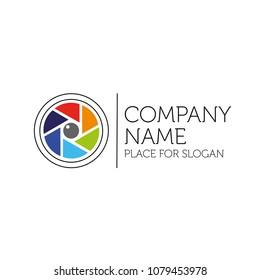 Photographer Logo. Colorful photographic lens diaphragm icon. Vector.