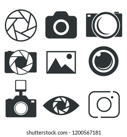 Photographer logo design, photography and photo camera icon, diaphragm symbol. Vector illustration. EPS10. Stock.