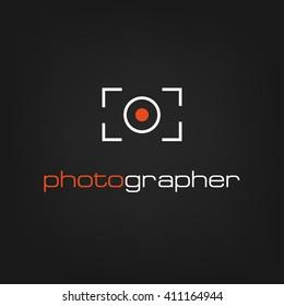 Photographer logo line, camera, record, photo