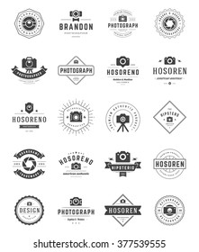 Photographer Logo Templates Set. Vector Design Element Vintage Style for Logotype, Label, Badge, Emblem. Photography Logo, Photo Camera Logo, Photo Studio Logo, Photo Camera Icon, Logo Vector.