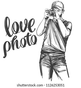 Photographer , love photo, calligraphy text hand drawn vector illustration realistic sketch