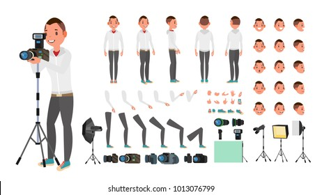 Photographer Male Vector. Animated Man Creation Set. Full Length, Front, Side, Back View. Isolated Flat Cartoon Illustration