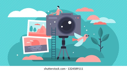 Photographer occupation vector illustration. Flat tiny camera picture person concept. Professional digital film equipment technology. Creative nature image capture on tripod. Outdoor shooting session.