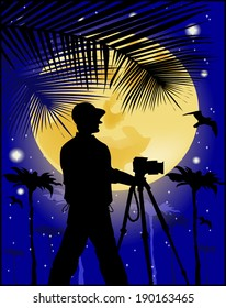 photographer on the background of the moon