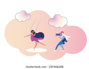 Photographer or Paparazzi Working with Photo Camera Shooting Young Woman Riding Swing among Clouds on Pink Sky. Romantic Movie Scene, Model or Actress Posing in Studio Cartoon Flat Vector Illustration