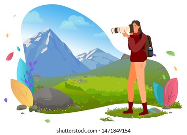 Photographer with photo camera in mountains vector. Traveler shooting or photographing wild nature andscape, photography and shots, focus and composition. Mountain tourism. Flat cartoon