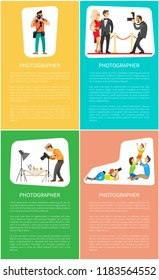Photographer profession and genres promo banners. Photojournalist with camera, paparazzi shooting celebrities, family portrait vector illustrations.