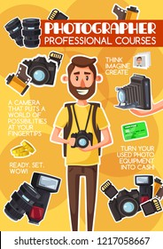 Photographer school or profession photography courses advertisement poster. Vector cartoon design of c man with photography equipment camera, optic lens and photo films or shoot flash