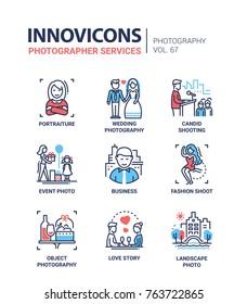 Photographer services - line design icons set