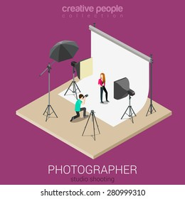 Photographer shooting model in studio flat isometric 3d style vector illustration. Creative people collection.