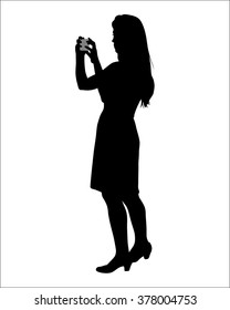 Photographer silhouette on the white background