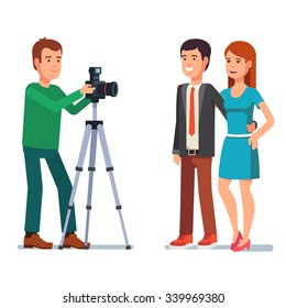 Photographer takes a photo of a beautiful couple. Flat style vector illustration isolated on white background.