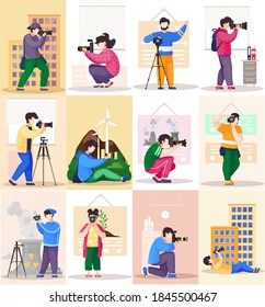 The photographer takes pictures in the office and on the street. Photographic art scenes set. Professional man and woman standing with the camera in his hands. A men prepares camera for a photo shoot