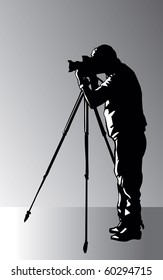 Photographer with tripod vector image