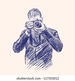Photographer - vintage hand drawn vector illustration